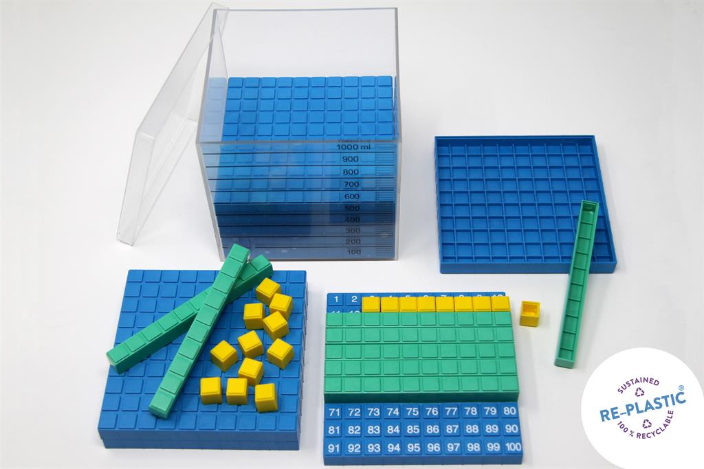 База 10 със закрепващи се десетици в куб