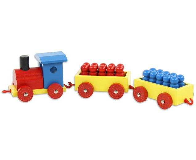 Влак дървен с фигури