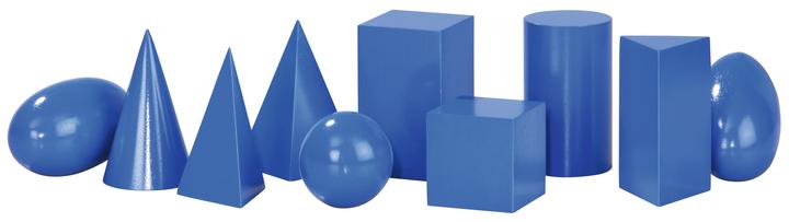 Геометрични фигури сини, дървени